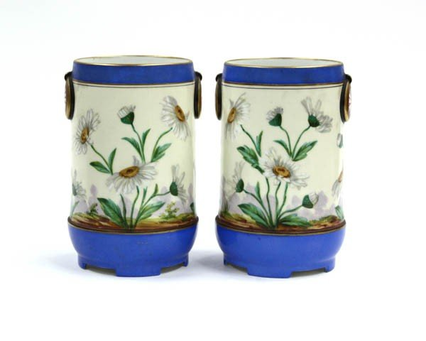 6003: Pair of continental porcelain vases