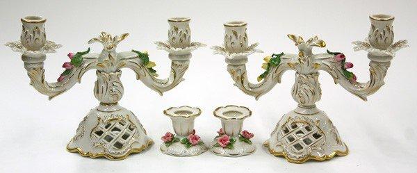 6006: German Porcelain Candlesticks