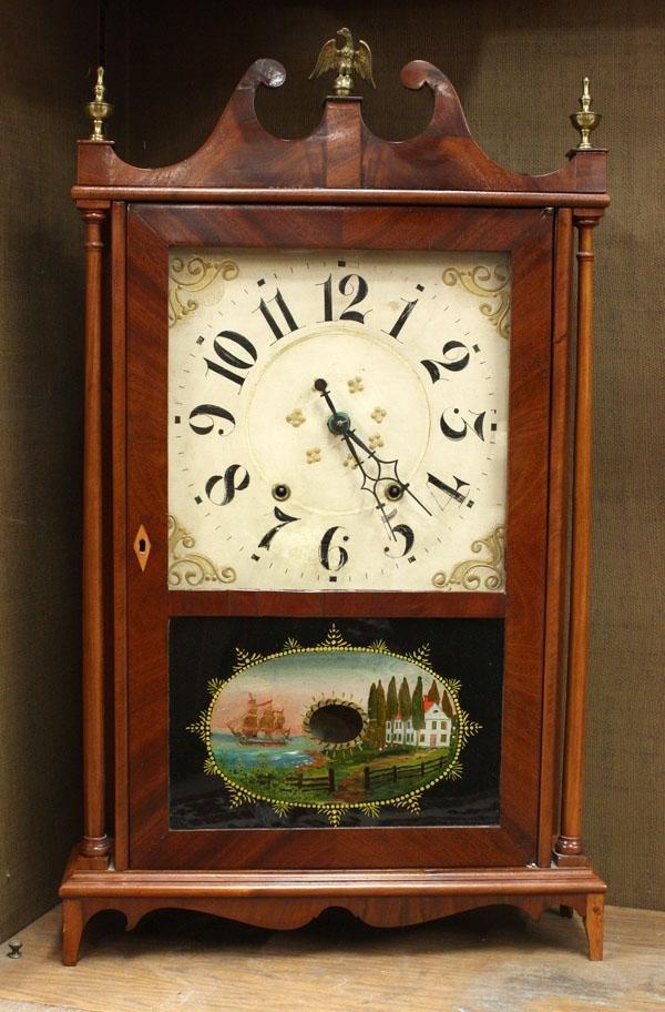 6011: Federal mahogany pillar and scroll mantle clock