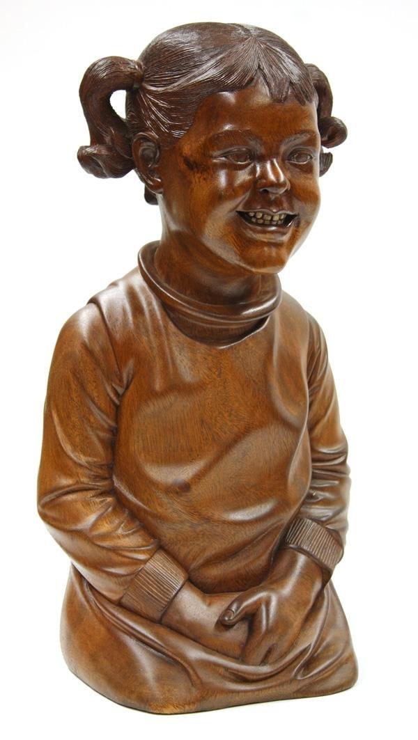 6012: Mahogany Carved Figural Sculpture