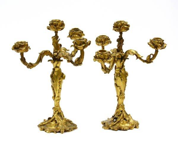 6022: Pair of Gilt Bronze Candlesticks