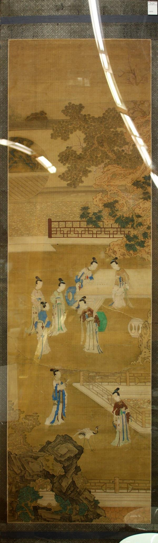 6477: Chinese Painting, Beauties in Courtyard, Qing dyn