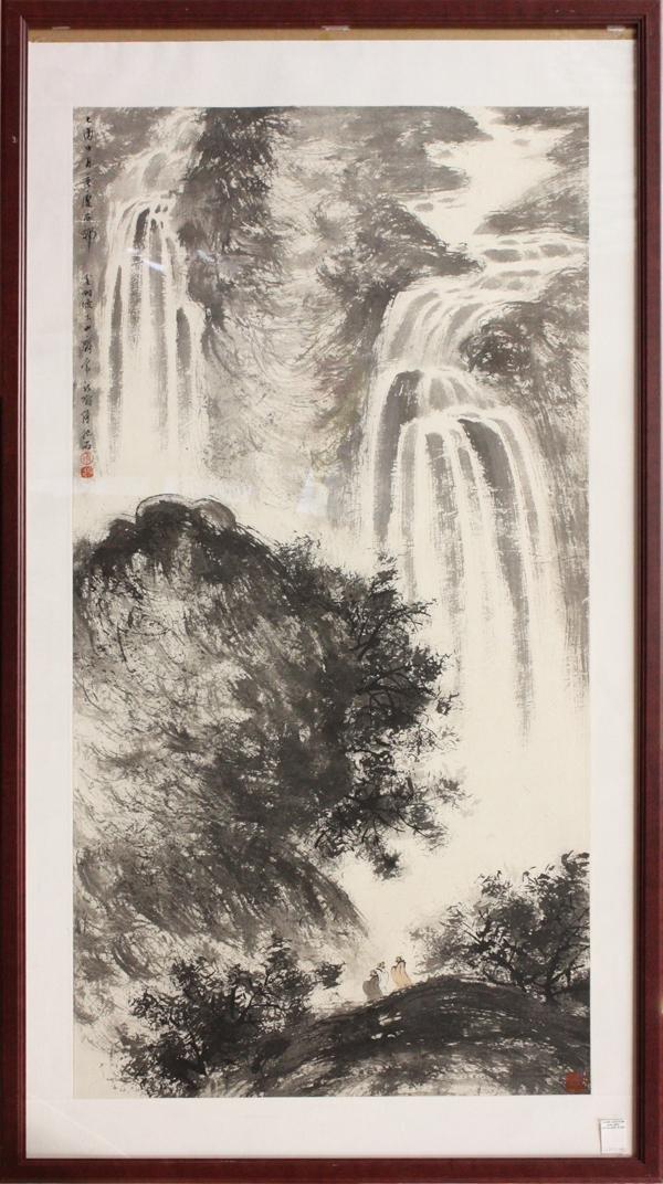 6480: Chinese Painting, Fu Baoshi (attr), Waterfall
