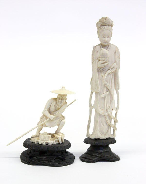 4014: Two Chinese Ivory Figural Carvings
