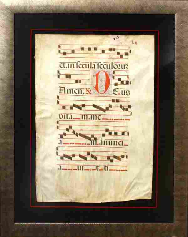 Manuscript Page, Latin Antiphonal Hymnal Book Pag