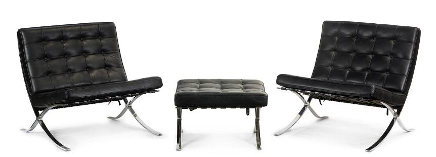 (lot of 3) Pair of Mies Van Der Rohe style Barcelona