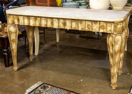 Hollywood Regency style stone top faux painted console