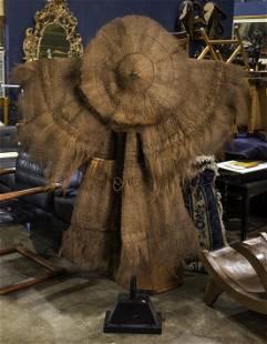 "Japanese woven fiber rice farming garment and hat, 68""h"