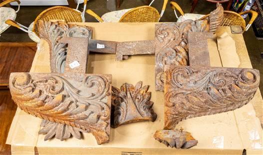 (Lot of 4) Vintage cast iron architectural elements,
