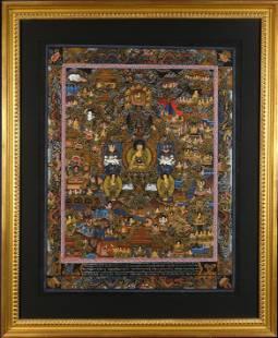 Himalayan thangka of Medicine Buddha