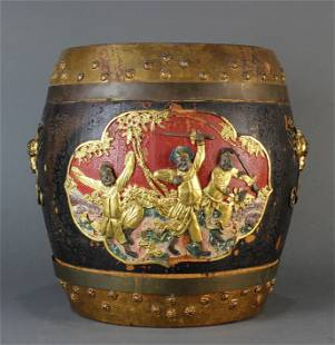 Chinese gilt lacquered covered drum form container
