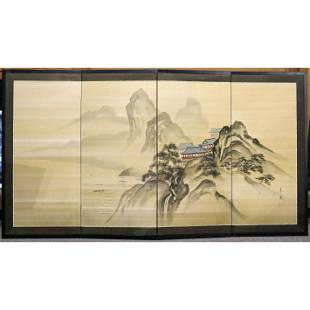 Japanese four panel folding screen