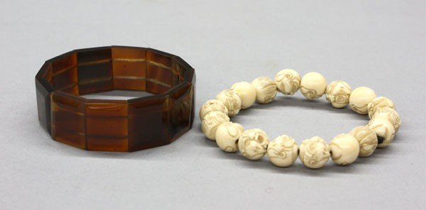 12: Carved Ivory/Tortoise Shell Bracelets