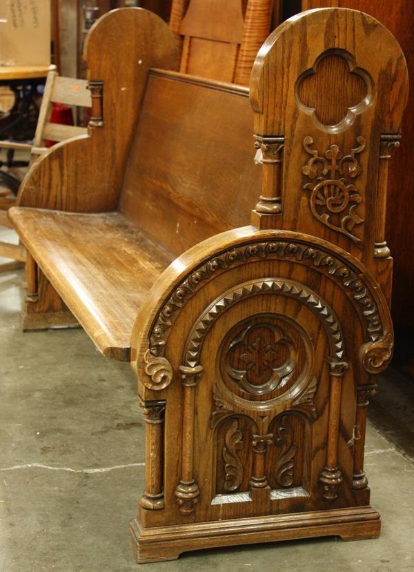 238: Victorian Modern Gothic hall bench