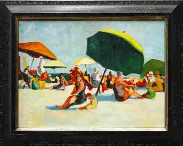 309: Painting, manner of Jane Peterson, Day at Beach
