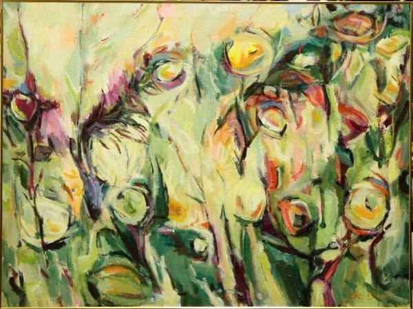 3006: Painting, Raymond Bates, Tropical Floral
