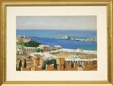 3083 Gouache Pierre Petitfour View of a Coastal Town