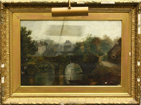 3127: Painting, European Village with Stone Bridge