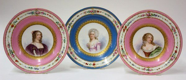 6016: Sevres decorated portrait plates
