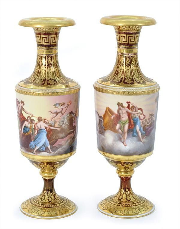 6056: Pair of Royal Vienna Urns signed Wagner