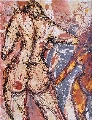 6256: Painting, attr to Jackson Pollock, Four Nudes