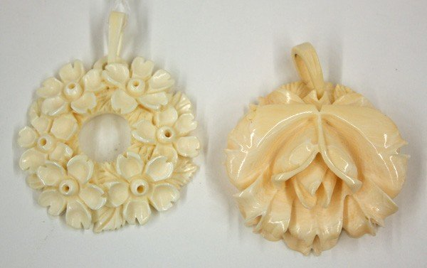 4010: Carved Ivory Floral Pendents