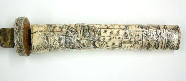 4051: Japanese Carved Bone Sword - 3