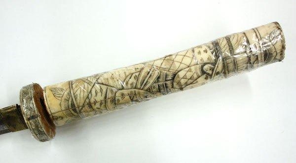 4051: Japanese Carved Bone Sword - 4