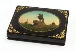 4139: Russian paper mache black lacquer dresser box