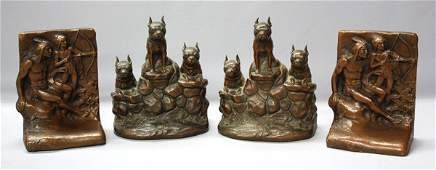 4182: Arts and Crafts bronze bookends