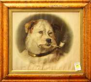 4318 Print after Edwin Henry Landseer A Quiet Pipe