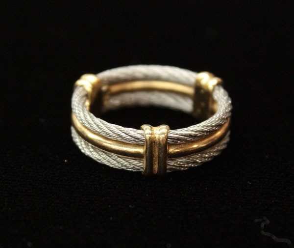 4620: Philippe Charriol Band Ring Yellow Gold Silver