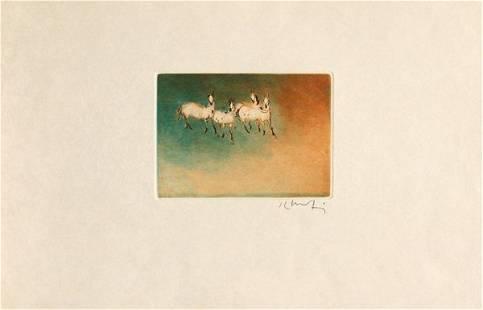2354: aquatints, Kaiko Moti, Les Chevaux