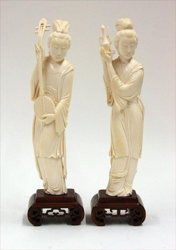 2638: Two Chinese Ivory Figural Carvings, Meiren