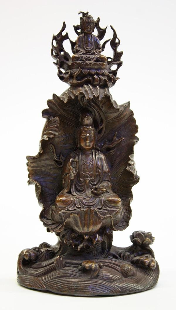 4: Chinese Patinated Metal Guanyin Figural Group