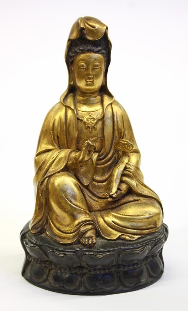 6: Chinese Gilt Metal Guanyin Figurine