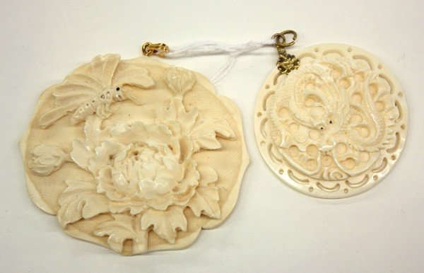 14: Carved Ivory Pendents, Dragon/Flower
