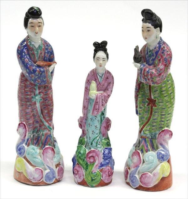 21: Chinese Enamel Decorated Porcelain Figures
