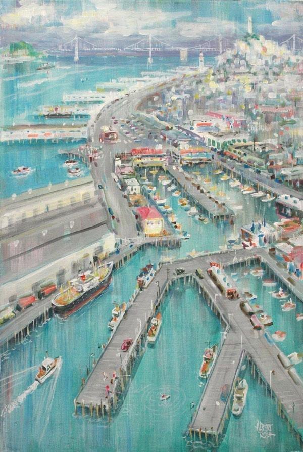 6208: Painting, Albert Tolf, San Francisco Waterfront