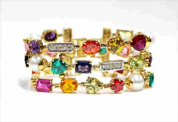 Multi color gem stone diamond pearl bracelet