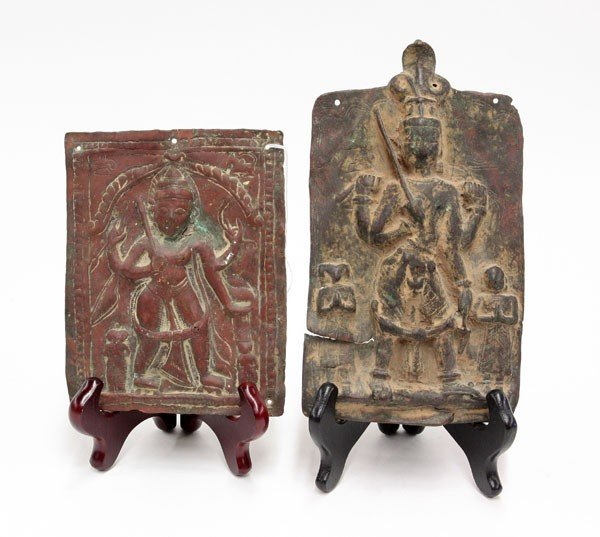 4002: East Indian Devotional Metal Plaques, 19th/Earlie