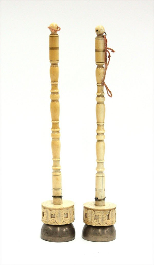 4005: East Indian Export Ivory Handle Brass Bells, 19th
