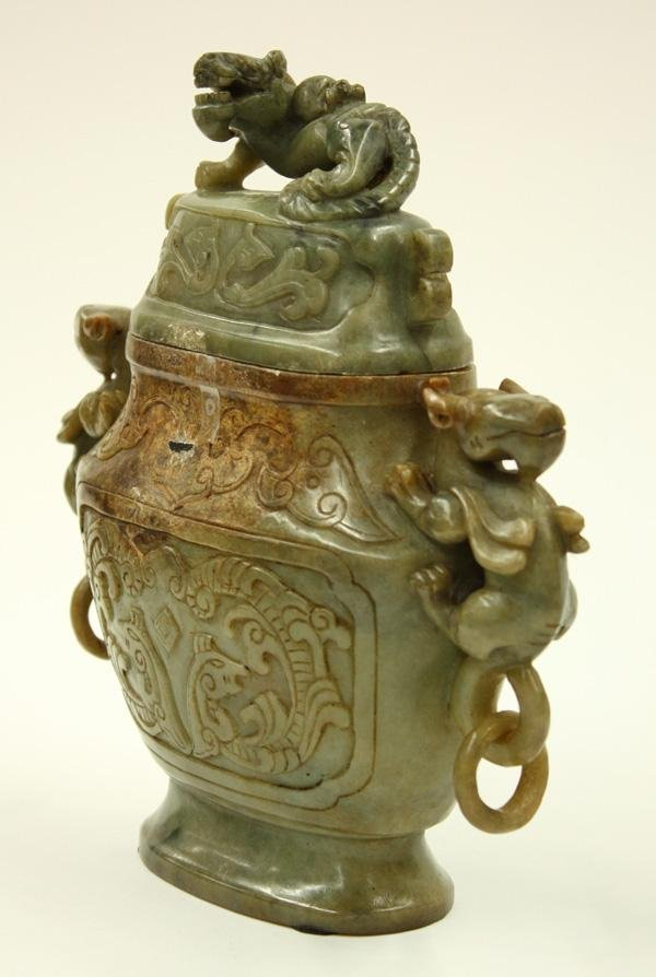 4011: Chinese Soapstone Urn with Cover