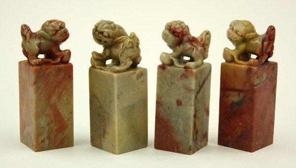4013: Chinese Soapstone Seals, Fu-Lions