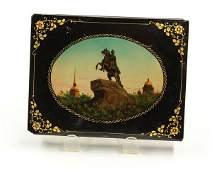 2049: Russian paper mache black lacquer dresser box