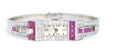 2342: Diamond ruby art deco bracelet wristwatch gold