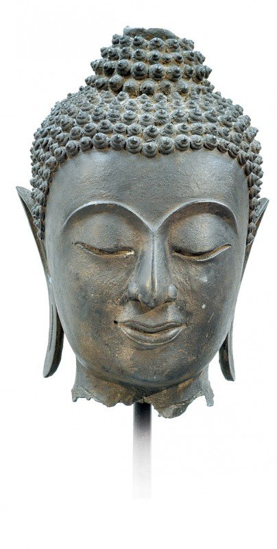 2482: Thai Large Bronze Buddha Head, 19th Century