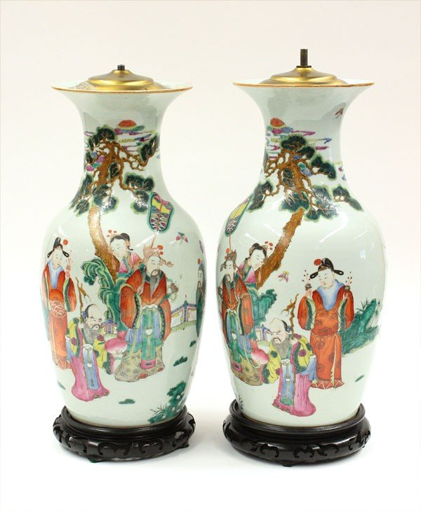 2510: Pair of Chinese Enameled Porcelain Vases (Lamps)