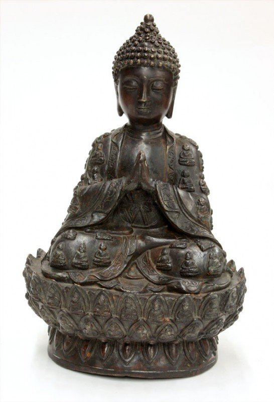 5: Chinese Patinated Bronze Buddha Figure
