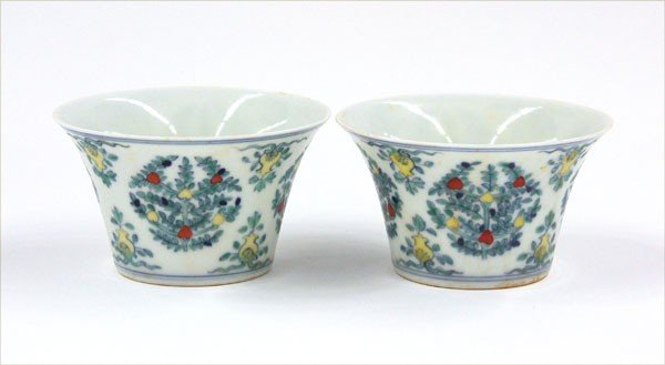 18: Pair Chinese doucai porcelain cups